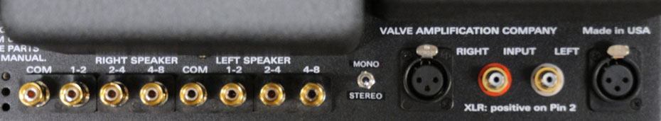 Rear panel connections of the VAC Phi 200 vacuum tube monoblock power amplifier