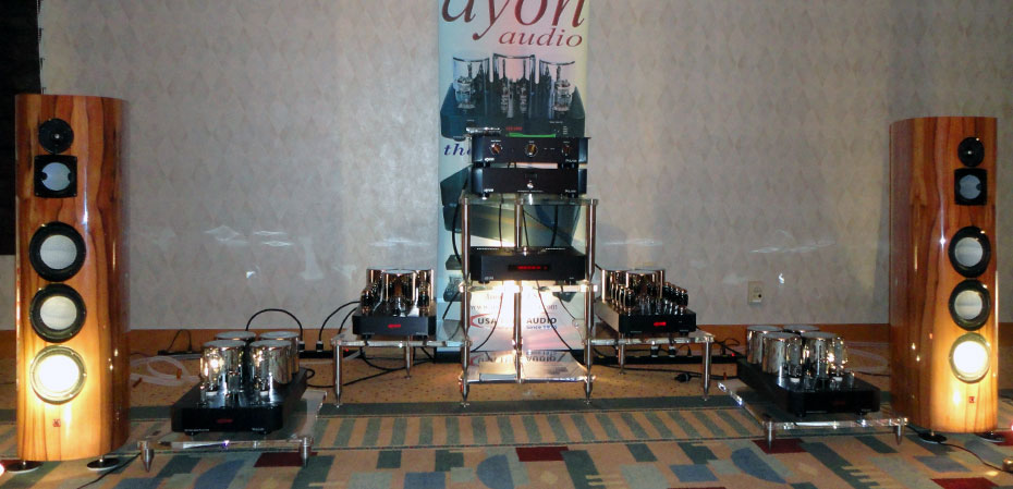 Ayon Audio system; CD-5S Tube Pre/DAC/CD Player, Orthos II Mono Block Amplifiers (inside), Vulcan II Amplifiers (outside), Lumenwhite Artisan Loudspeakers, and VOVOX cablin