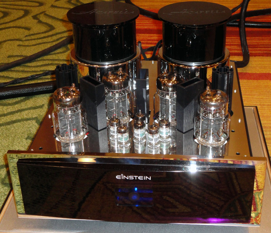 Einstein The Final Cut Balanced OTL Tube Mono Amplifier with Acapella Big Block Resonance Control Device atop each transformer