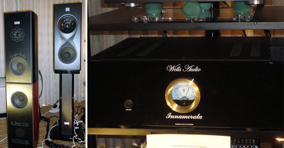 Ginko Audio ClaraVu 7 Speaker and Subwoofer on left, and ClaraVu 88 Speaker on right; Wells Audio Innamorata Amplifier