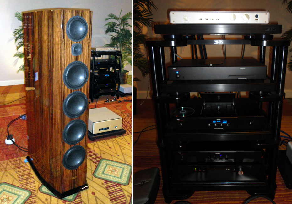 (Left) Audio Limits system with Venture Ultimate Reference speakers and Fm Acoustics 115 Monoblocks; (Right) 114 FM Acoustics 245 Preamplifier, Weiss Jason Transport, Medea+ D/A Converter, and Man301 Music Archive Network Player