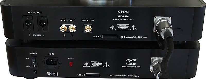 Ayon CD3 CD Player and Power rear panel showing connectors