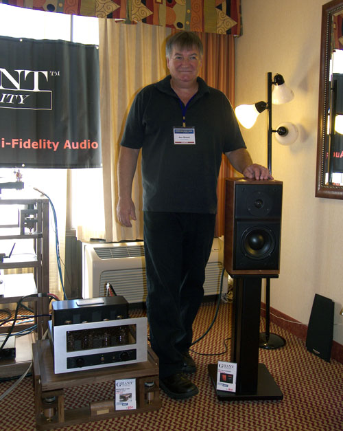 Ian Grant with Grant Fidelity RBS-1 Morel Reference Bookshelf Speaker (MSRP $2,200) and W30GT integrated tube amp with tube phono (MSRP $2,500)