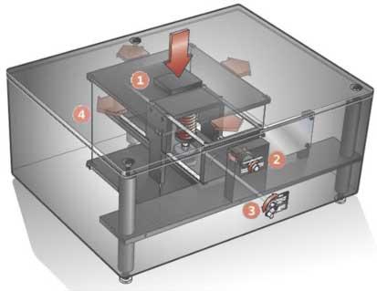 Minus K 100BM-1 Vibration Isolation Platform Transparent Image - A view inside the box