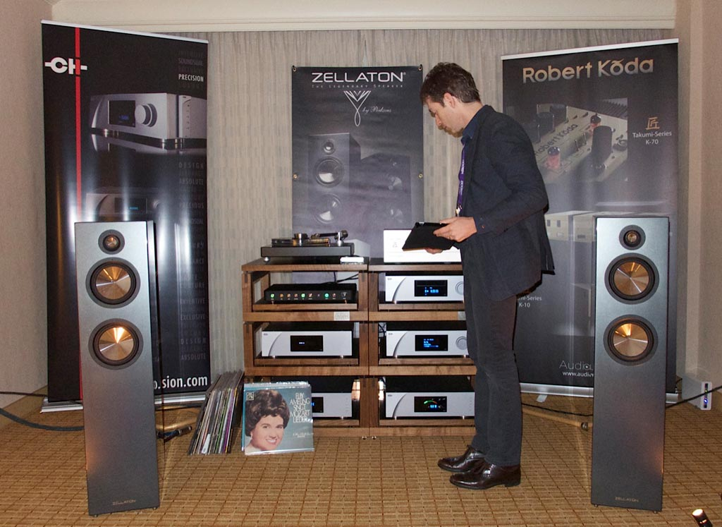 Audioarts room at RMAF 2013. Jan Allearts MC Finish Cartridge, the Van Den Hul cables and the Audiostrata racks. The speakers were from Zellaton, amps and digital from CH Precision, preamp from Robert Koda, and the turntable was from Holborne Analogue.